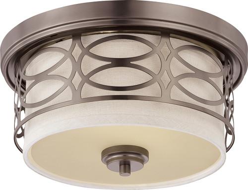 NUVO Lighting 60/4727 Harlow 2 Light Flushmount Dome Fixture with Khaki Fabric Shade