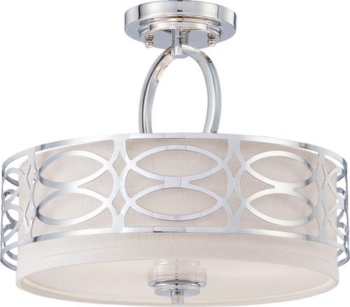 NUVO Lighting 60/4629 Harlow 3 Light Semi Flushmount Fixture with Slate Gray Fabric Shade