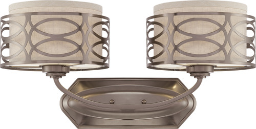 NUVO Lighting 60/4722 Harlow 2 Light Vanity Fixture with Khaki Fabric Shades