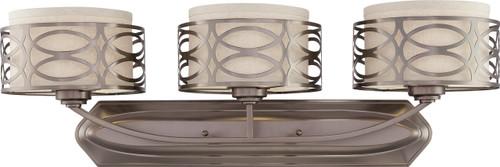 NUVO Lighting 60/4723 Harlow 3 Light Vanity Fixture with Khaki Fabric Shades