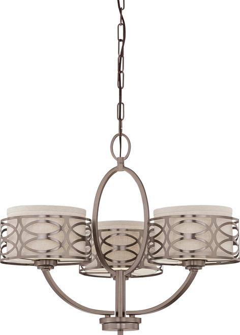 NUVO Lighting 60/4724 Harlow 3 Light Chandelier with Khaki Fabric Shades