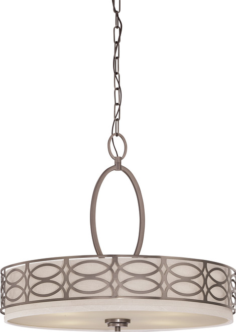 NUVO Lighting 60/4726 Harlow 4 Light Pendant with Khaki Fabric Shade