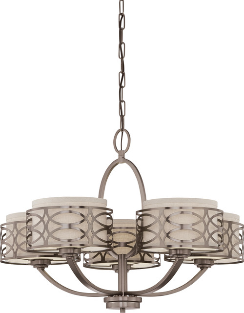 NUVO Lighting 60/4725 Harlow 5 Light Chandelier with Khaki Fabric Shades