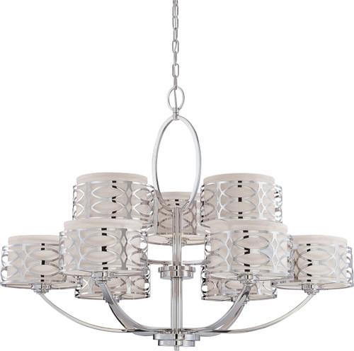 NUVO Lighting 60/4630 Harlow 9 Light Chandelier with Slate Gray Fabric Shades