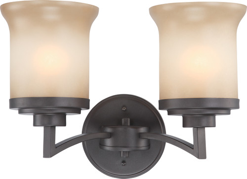 NUVO Lighting 60/4122 Harmony 2 Light Vanity Fixture with Saffron Glass