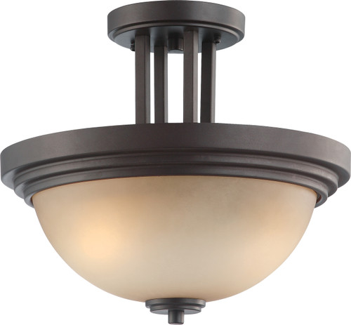 NUVO Lighting 60/4127 Harmony 2 Light Semi Flushmount Fixture with Saffron Glass