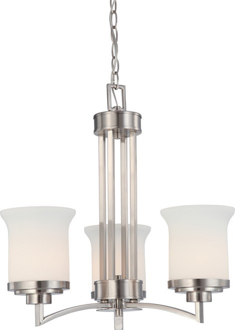 NUVO Lighting 60/4104 Harmony 3 Light Chandelier with Satin White Glass