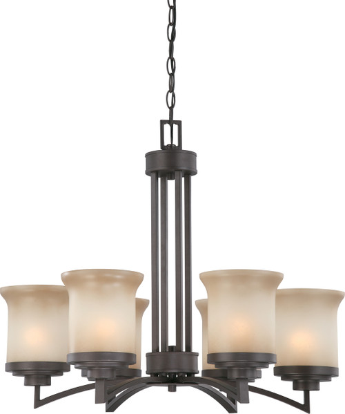 NUVO Lighting 60/4125 Harmony 6 Light Chandelier with Saffron Glass