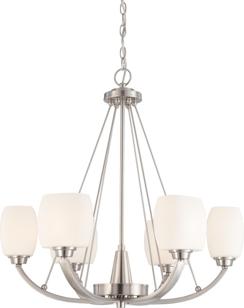 NUVO Lighting 60/4186 Helium 6 Light Chandelier with Satin White Glass
