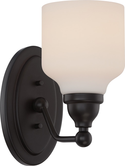 NUVO Lighting 62/396 Kirk 1 Light Vanity Fixture with Satin White Glass (LED Omni Bulb Included)