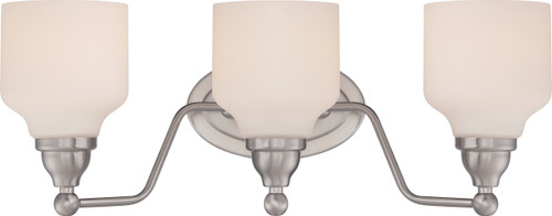 NUVO Lighting 62/388 Kirk 3 Light Vanity Fixture with Satin White Glass (LED Omni Bulbs Included)
