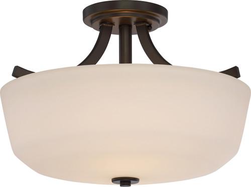 NUVO Lighting 60/5926 Laguna 2 Light Semi Flushmount with White Glass