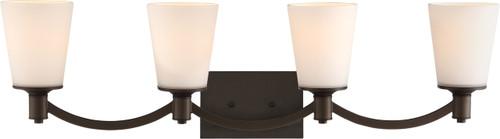 NUVO Lighting 60/5974 Laguna 4 Light Vanity Aged Bronze with White Glass