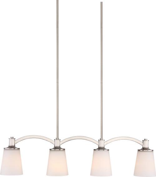 NUVO Lighting 60/5875 Laguna 4 Light Island Pendant Brushed Nickel with White Glass