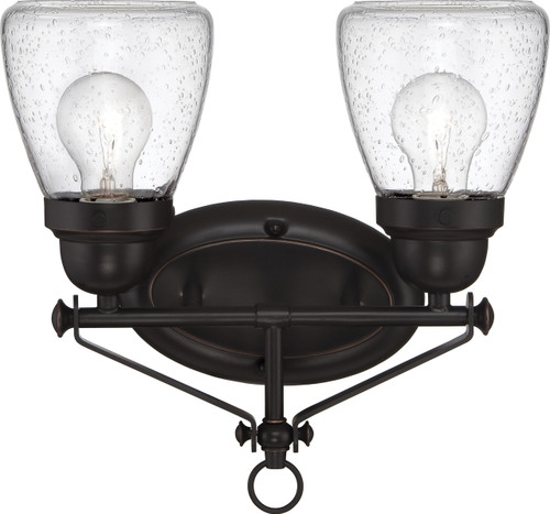 NUVO Lighting 60/5542 Laurel 2 Light Vanity Fixture with Clear Seeded Glass