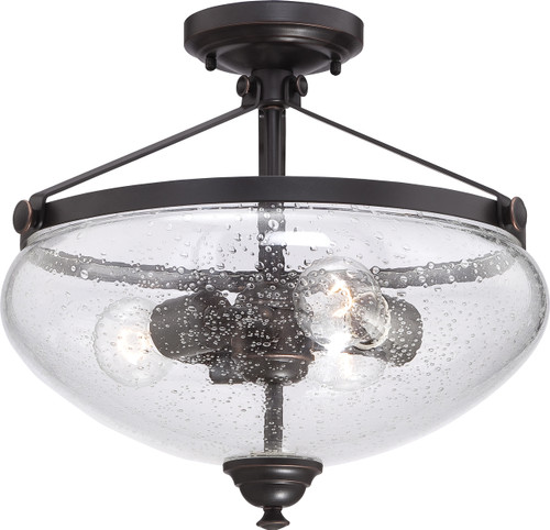 NUVO Lighting 60/5544 Laurel 3 Light Semi Flushmount with Clear Seeded Glass