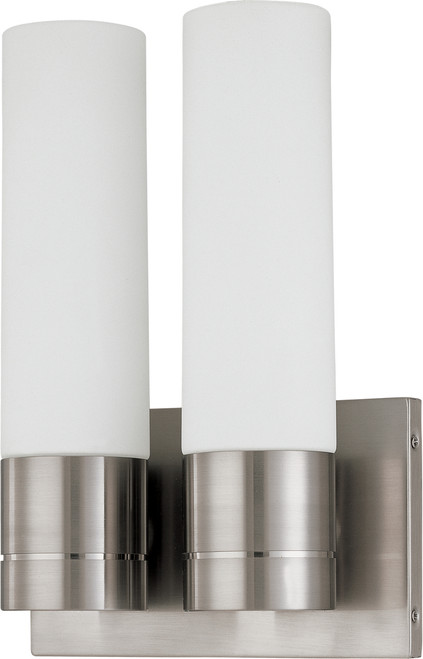 NUVO Lighting 60/2938 Link 2 Light (Twin) Tube Wall Sconce with White Glass