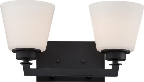 NUVO Lighting 60/5552 Mobili 2 Light Vanity Fixture with Satin White Glass