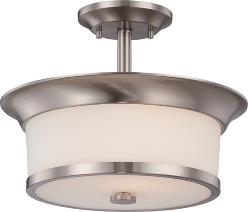 NUVO Lighting 60/5450 Mobili 2 Light Semi Flushmount with Satin White Glass