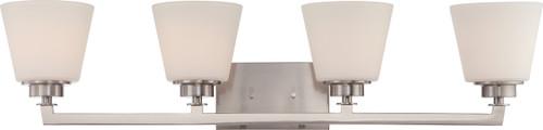 NUVO Lighting 60/5454 Mobili 4 Light Vanity Fixture with Satin White Glass