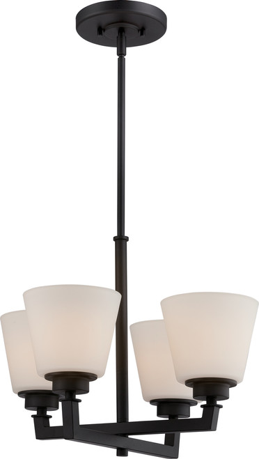 NUVO Lighting 60/5558 Mobili 4 Light Chandelier with Satin White Glass