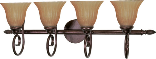"""NUVO Lighting 60/018 Moulan 4 Light 33"""" Vanity with Champagne Linen Washed Glass"""