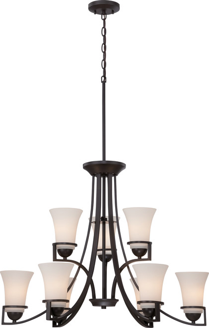 NUVO Lighting 60/5589 Nevel 9 Light 2 Tier Chandelier with Satin White Glass