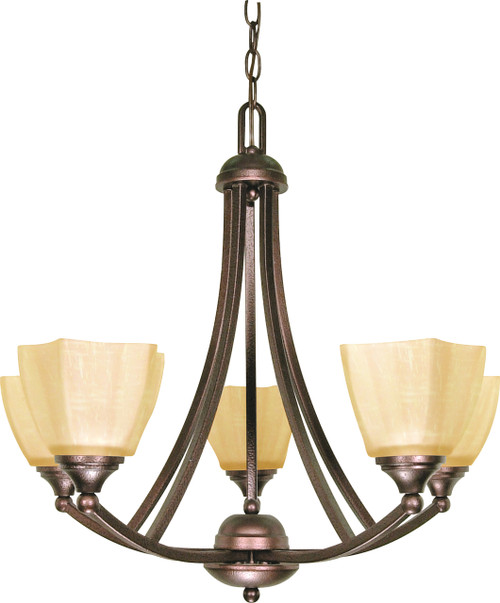 """NUVO Lighting 60/055 Normandy 5 Light 25"""" Chandelier with Champagne Linen Washed Glass"""