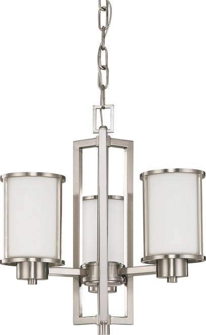 NUVO Lighting 60/2851 Odeon 3 Light (Convertible Up/Down) Chandelier with Satin White Glass