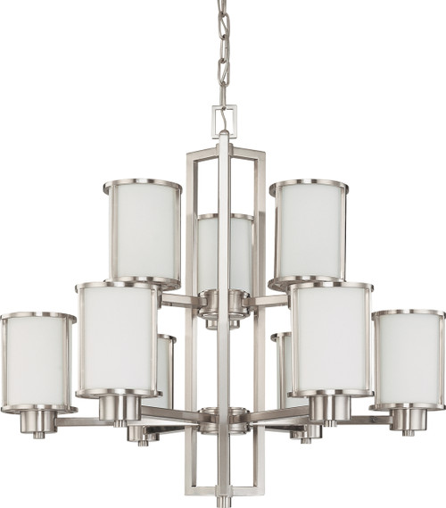 NUVO Lighting 60/2855 Odeon 6 + 3 Light Chandelier with Satin White Glass
