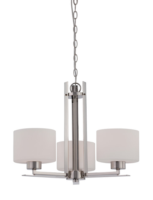 NUVO Lighting 60/5206 Parallel 3 Light Chandelier with Etched Opal Glass