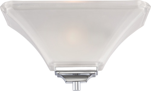 NUVO Lighting 60/5373 Parker 1 Light Wall Sconce Polished Chrome with Sandstone Etched Glass