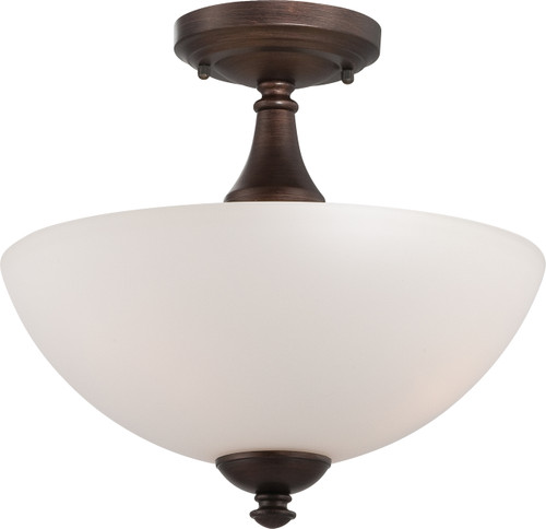 NUVO Lighting 60/5144 Patton 3 Light Semi Flushmount with Frosted Glass