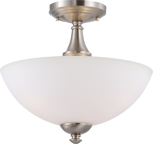 NUVO Lighting 60/5044 Patton 3 Light Semi Flushmount with Frosted Glass