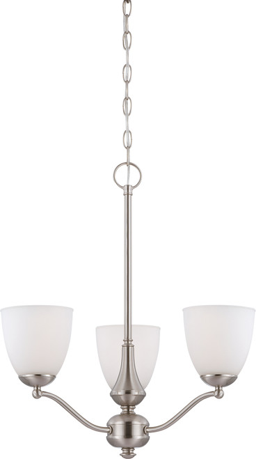 NUVO Lighting 60/5036 Patton 3 Light Chandelier (Arms Up) with Frosted Glass