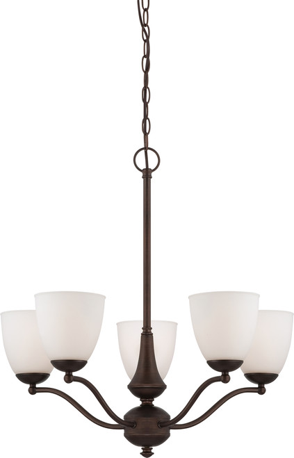 NUVO Lighting 60/5135 Patton 5 Light Chandelier (Arms Up) with Frosted Glass