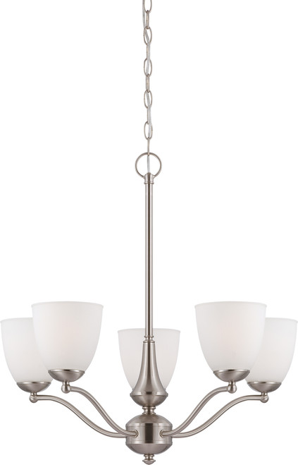 NUVO Lighting 60/5035 Patton 5 Light Chandelier (Arms Up) with Frosted Glass