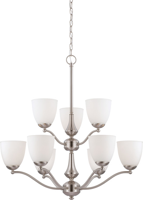 NUVO Lighting 60/5039 Patton 9 Light 2 Tier Chandelier with Frosted Glass