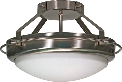 "NUVO Lighting 60/609 Polaris 2 Light 14"" Semi Flushmount with Satin Frosted Glass Shades"