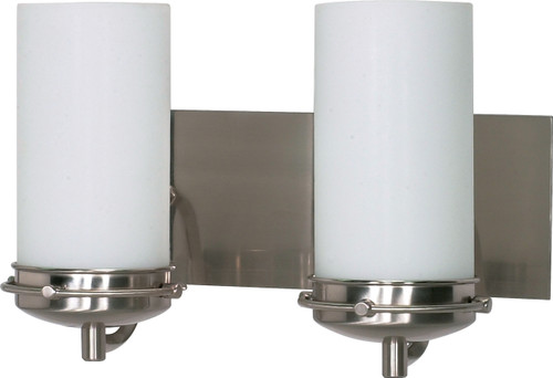 """NUVO Lighting 60/612 Polaris 2 Light 14"""" Vanity with Satin Frosted Glass Shades"""
