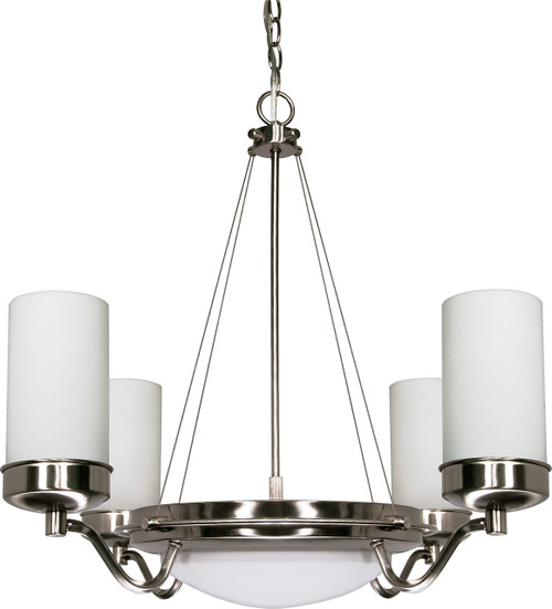 """NUVO Lighting 60/607 Polaris 6 Light 29"""" Chandelier with Satin Frosted Glass Shades"""