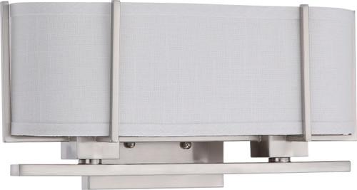 NUVO Lighting 60/4464 Portia 2 Light Vanity with Slate Gray Fabric Shades (2) 13W GU24 (Bulbs Included)