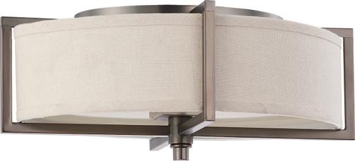 NUVO Lighting 60/4458 Portia 2 Light Oval Flushmount with Khaki Fabric Shade (2) 13W GU24 (Bulbs Included)