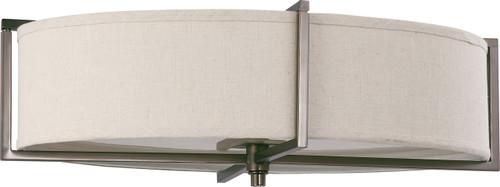 NUVO Lighting 60/4459 Portia 6 Light Oval Flushmount with Khaki Fabric Shade (6) 13W GU24 (Bulbs Included)