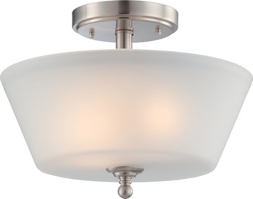 NUVO Lighting 60/4151 Surrey 2 Light Semi Flushmount Fixture with Frosted Glass