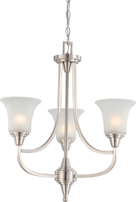 NUVO Lighting 60/4145 Surrey 3 Light Chandelier with Frosted Glass