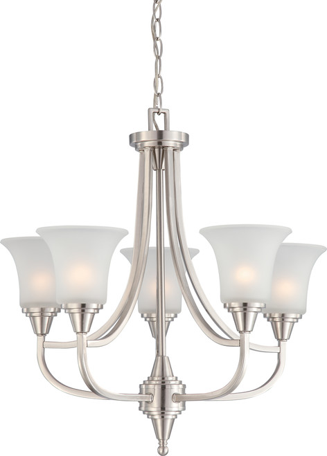NUVO Lighting 60/4146 Surrey 5 Light Chandelier with Frosted Glass