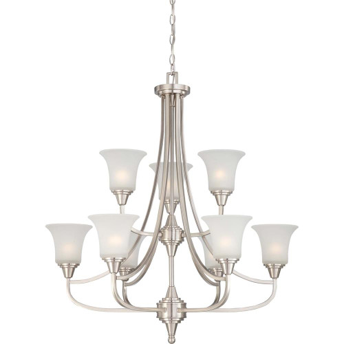 NUVO Lighting 60/4149 Surrey 9 Light Two Tier Chandelier with Frosted Glass