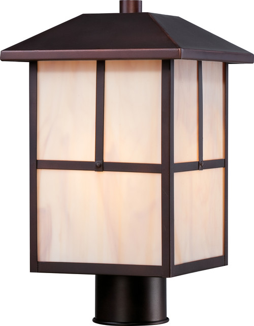 NUVO Lighting 60/5675 Tanner 1 Light Outdoor Post Fixture with Honey Stained Glass
