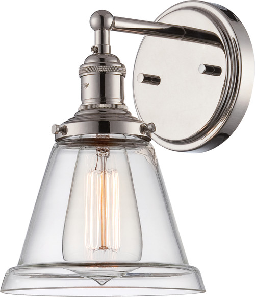 NUVO Lighting 60/5412 Vintage 1 Light Sconce with Clear Glass (Vintage Bulb Included)